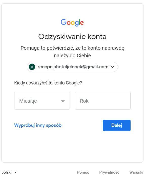 data założenia konta w gmail