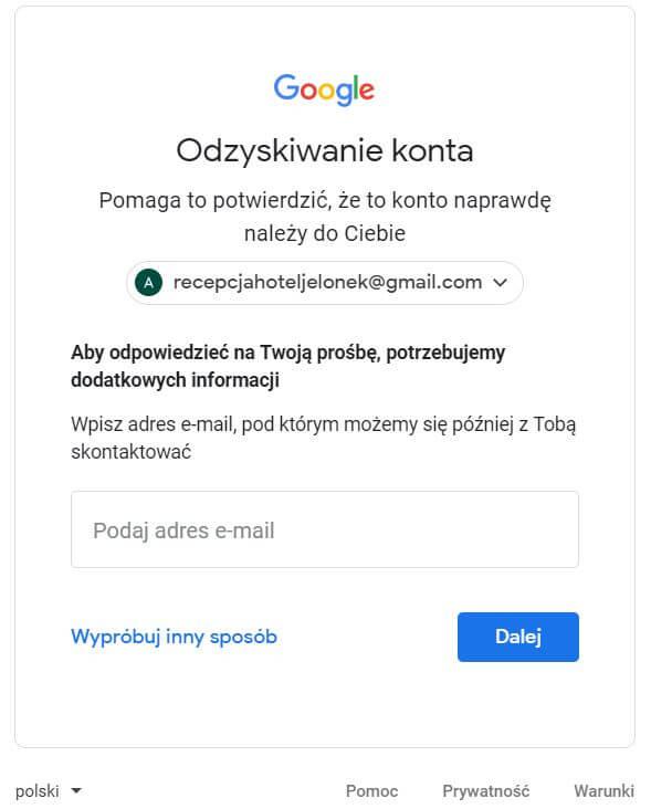dodatkowe informacje dla Google